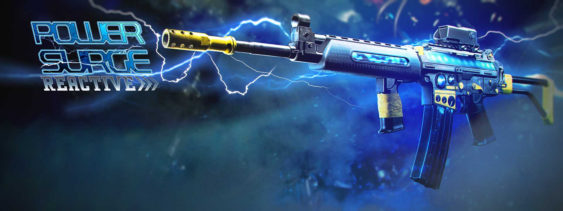 A kilowhopper assault rifle with lightning flashing behind it
