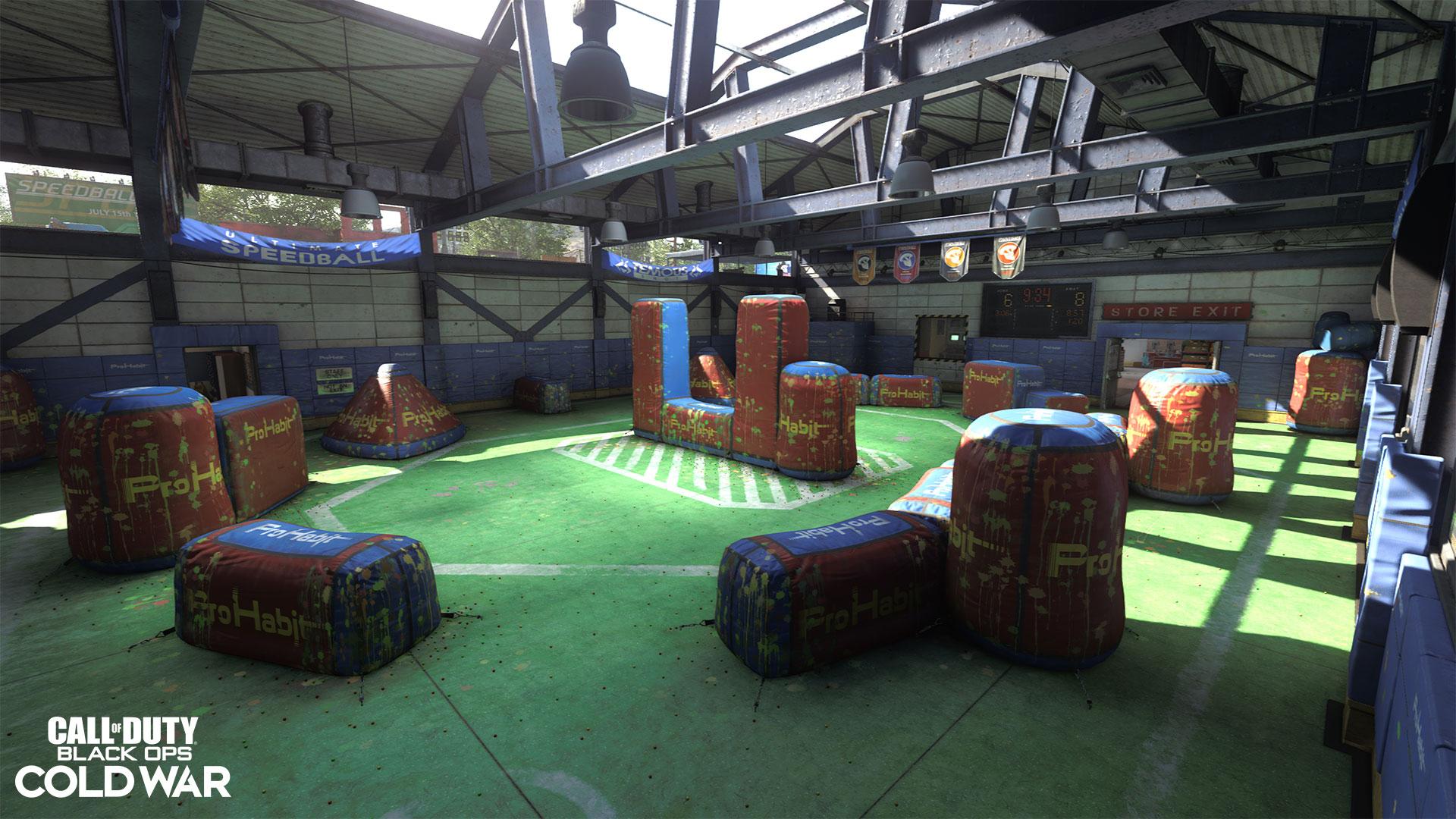 An indoor paintball range