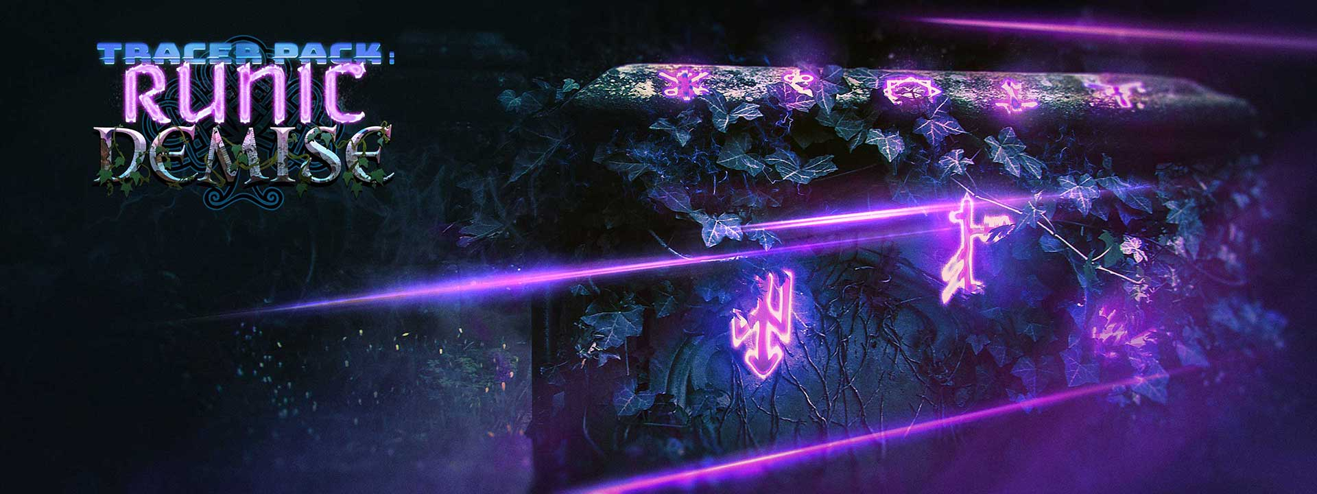 Glowing runes engraved on a large stone slate that is wrapped in vines