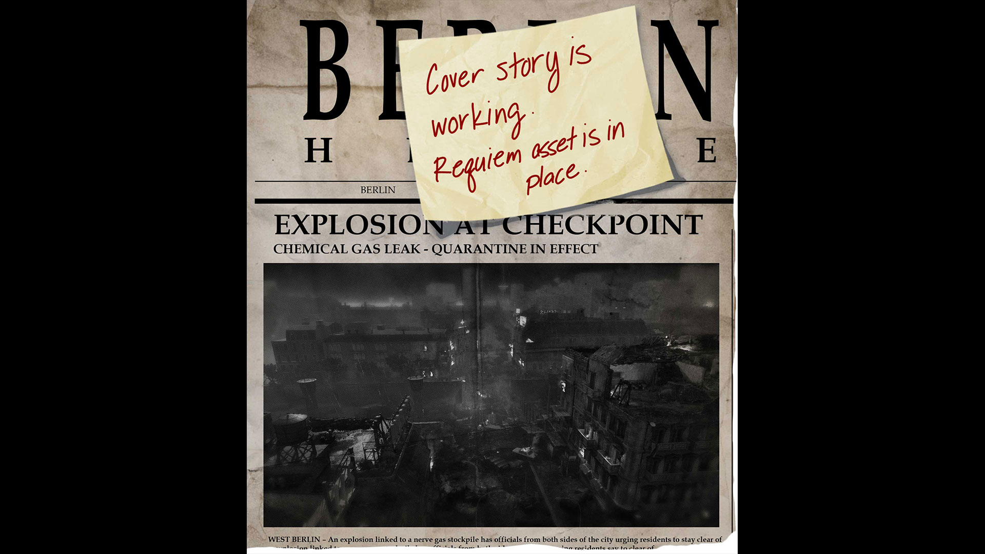 """Newspaper clipping with sticky note on top that reads """"Cover story is working. Requiem asset is in place."""""""