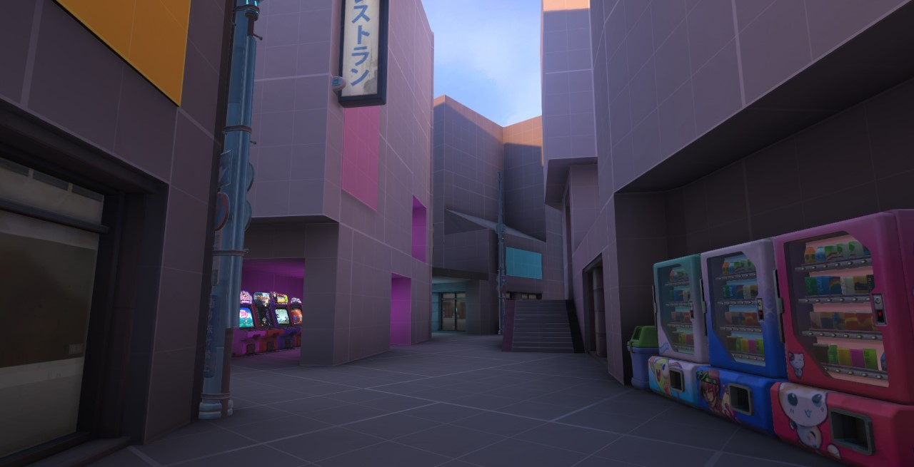 In-game image of a blocked-out Kanezaka alleyway.