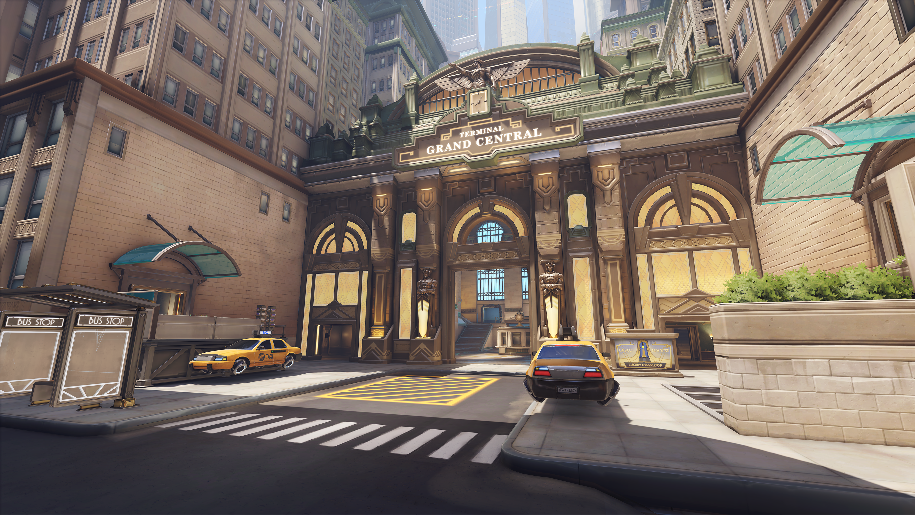 A screen capture image of the Grand Central Terminal in Overwatch 2's New York City map.
