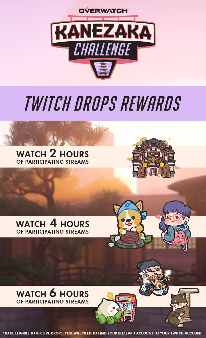 Earn 6 in-game sprays by watching 6 hours of Overwatch on Twitch during the Kanezaka Challenge