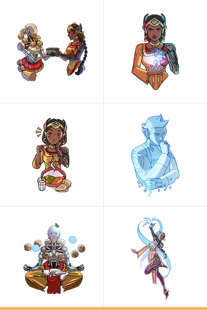 6 Symmetra's Restoration Challenge sprays by JaviDraws